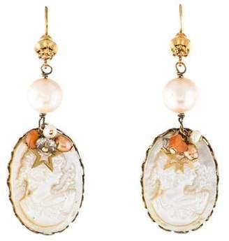 Mother of Pearl Gas Bijoux Pearl, & Carnelian Cameo Drop Earrings
