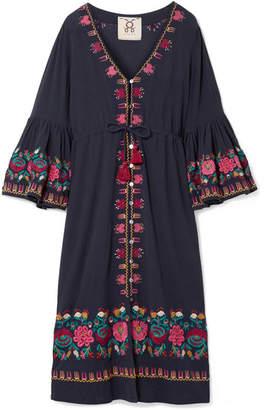 Figue Junie Embroidered Cotton-voile Midi Dress