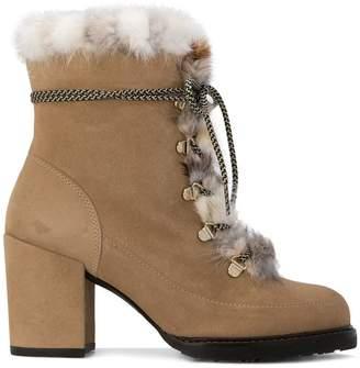 Stuart Weitzman fur lace-up ankle boots
