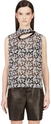 Christopher Kane Black Plasma Lace Cut-Out Petal Blouse