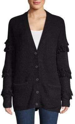 Saks Fifth Avenue Fringed-Sleeve Textured Cardigan