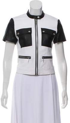 Michael Kors Faux Leather-Trimmed Short Sleeve Jacket White Faux Leather-Trimmed Short Sleeve Jacket