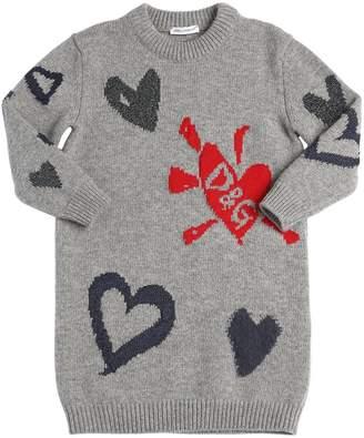 Dolce & Gabbana Hearts Intarsia Wool Blend Sweater Dress