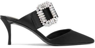 Roger Vivier Crystal-embellished Satin Mules - Black