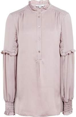 Reiss Como - Ruffle-detail Blouse in Ash Pink