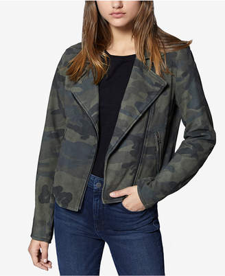 Sanctuary Camo-Print Leather Moto Jacket