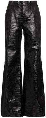 Off-White flared leg patent leather trousers