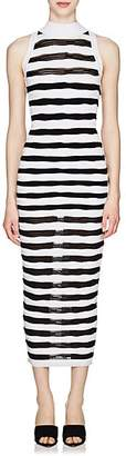Balmain Women's Striped Knit Sleeveless Long Dress - White