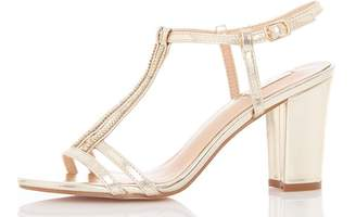Quiz Gold Metallic Double Strap Sandals