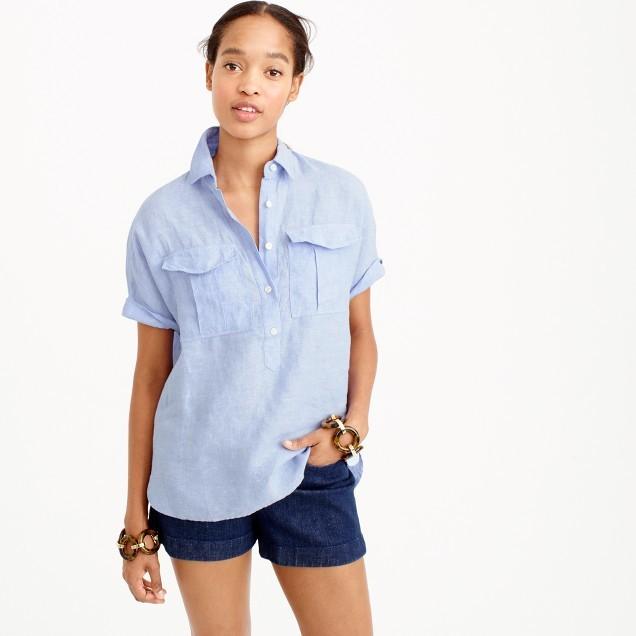J.CrewShort-sleeve popover shirt in Irish linen