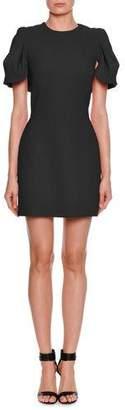 Alexander McQueen Shell-Sleeve Cape-Back Wool/Silk Mini Dress