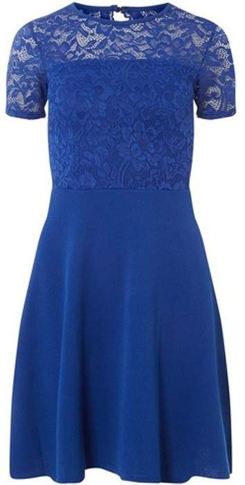 Womens Cobalt Lace Top Fit and Flare Dress