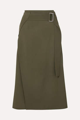 Victoria Beckham Belted Wrap-effect Wool-twill Midi Skirt - Army green