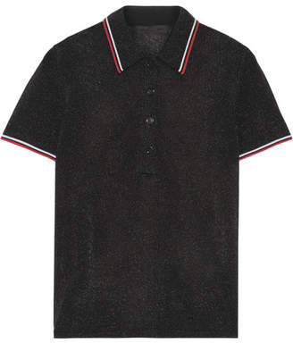 Alexander Wang - Metallic Stretch-knit Polo Shirt - Black $395 thestylecure.com