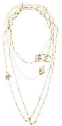 Chanel Faux Pearl & CC Double Strand Necklace