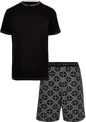 River Island Black 'RI' print pyjama shorts set