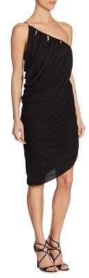 Halston One-Shoulder Drape Dress