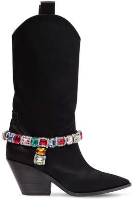 Casadei 60mm Rodeo Crystals Satin Cowboy Boots