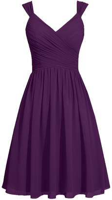 Cdress Chiffon Short Bridesmaid Dresses Straps Sashes Cocktail Gowns Wedding Party Dress US 24W