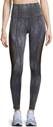 Aurum Passion Printed Mesh Insert Full-Length Leggings