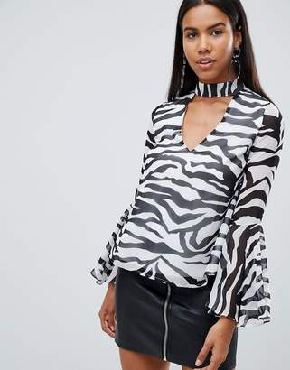 Rare London Zebra Choker Detail Blouse