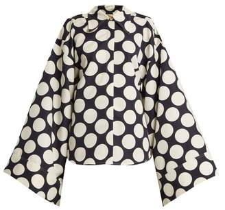 Awake Polka Dot Print Kimono Sleeve Shirt - Womens - Navy White