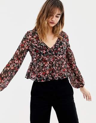 Stradivarius floral ditsy v neck bell sleeve blouse