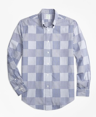Brooks Brothers Milano Fit Dobby Patchwork Sport Shirt