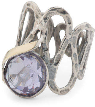 Made In Israel 14k Gold And Sterling Silver Crystal Ring