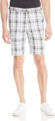 Haggar Men's Cool 18 Expandable Waist Plain Front Large Plaid Short
