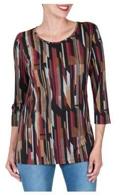 Haggar Petite Three Quarter Sleeve Crossknit Tunic Top