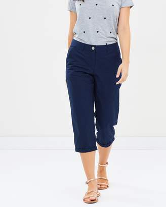 Dorothy Perkins Contrast Waist Poplin Crop Pants