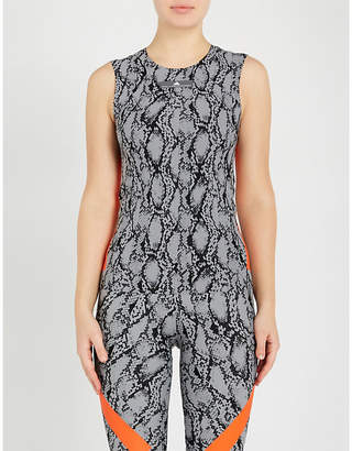 adidas by Stella McCartney Alphaskin snake-print stretch-jersey top