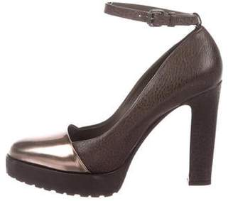 Brunello Cucinelli Leather Ankle-Strap Pumps