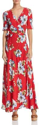 Band of Gypsies Blue Moon Floral-Print Wrap Dress