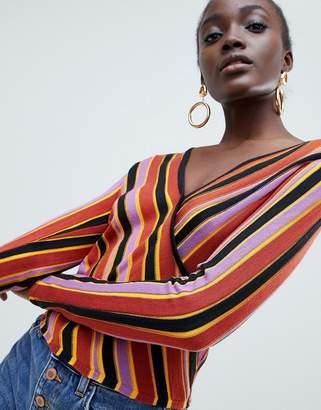 Asos (エイソス) - Asos Design ASOS DESIGN two-piece striped wrap sweater in knit