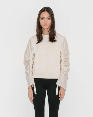 3.1 Phillip Lim Ecru French Terry Pullover w/ Gathered Sleeves