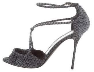 Pierre Hardy Snakeskin Ankle Strap Sandals