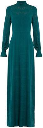 SALONI Mary long-sleeved fil coupé silk gown $810 thestylecure.com