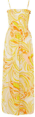 Emilio Pucci Smocked Printed Cotton And Silk-blend Voile Maxi Dress - Pastel yellow