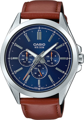 Casio Men's MTPSW300L-2AV Classic Multi-Hand Watch, Brown Leather Strap