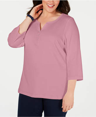 Karen Scott Plus Size Cotton Split-Neck Top