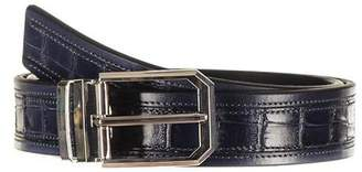 Black Navy Italian Textured Calf Leather Belt