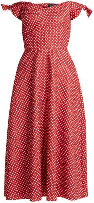 Saloni Ruth polka-dot print off-the-shoulder dress