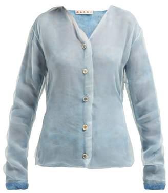 5269ab4532 Marni Layered Mohair Blend And Silk Organza Cardigan - Womens - Light Blue