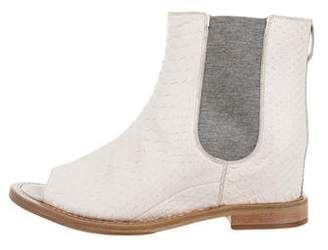 Brunello Cucinelli Snakeskin Peep-Toe Booties w/ Tags