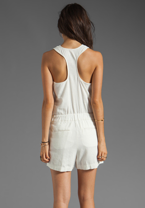 Plenty by Tracy Reese Garment Washed Linen Surplice Romper