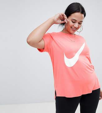 Nike Plus Pink Large Swoosh Logo Longline T-Shirt