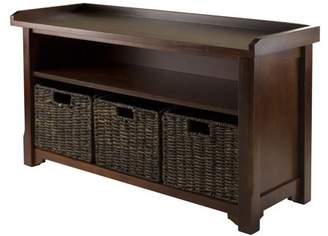 Winsome Wood Granville Storage Bench with 3 Foldable Baskets