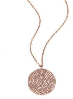 Astley Clarke Icon Light Grey Diamond& 14K Rose Gold Aura Large Pendant Necklace